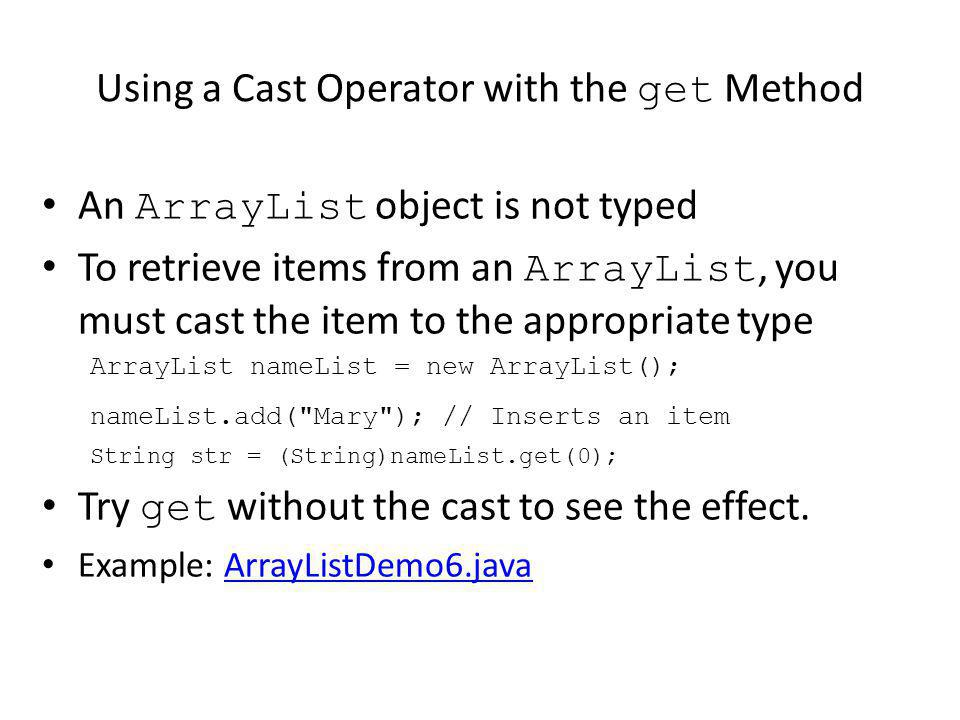 Using a Cast Operator with the get Method