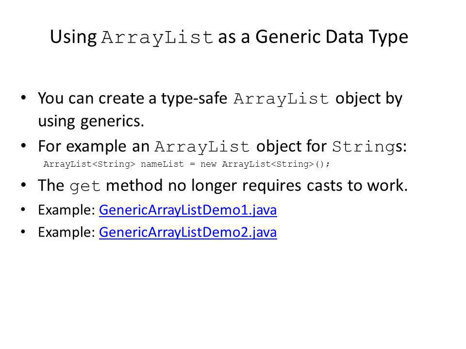 Using ArrayList as a Generic Data Type