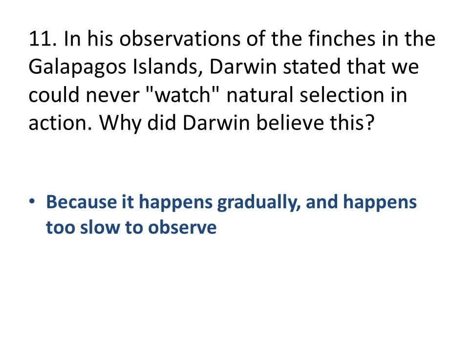 11. In his observations of the finches in the Galapagos Islands, Darwin stated that we could never watch natural selection in action. Why did Darwin believe this