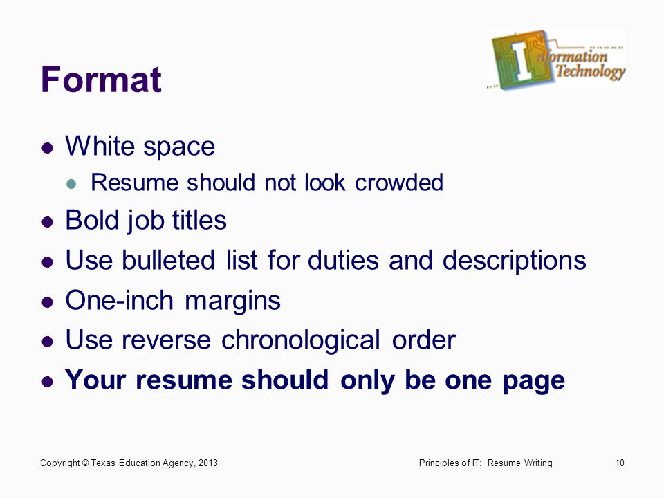 Format White space Bold job titles