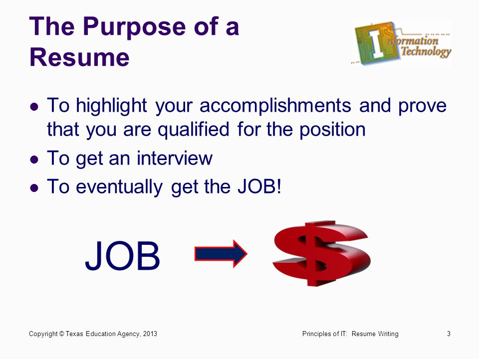 JOB The Purpose of a Resume