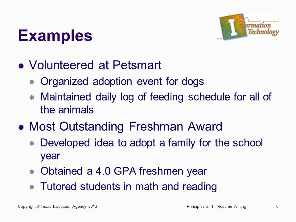 Examples Volunteered at Petsmart Most Outstanding Freshman Award