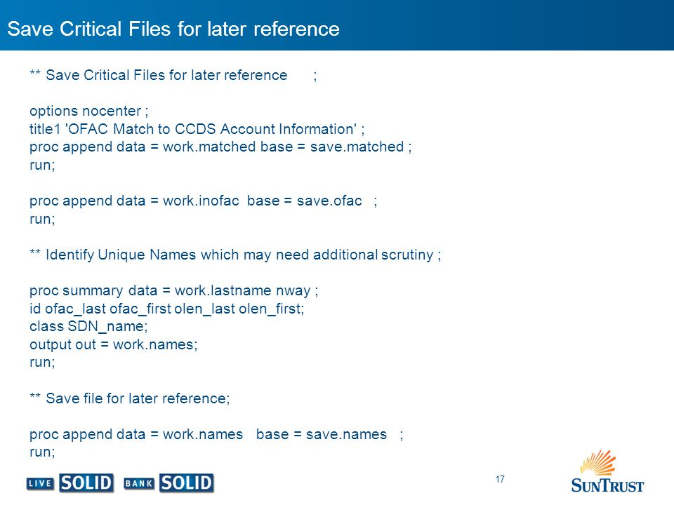 Save Critical Files for later reference