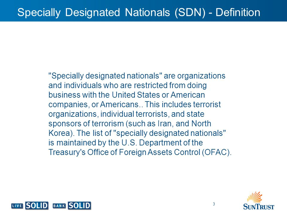 Specially Designated Nationals (SDN) - Definition