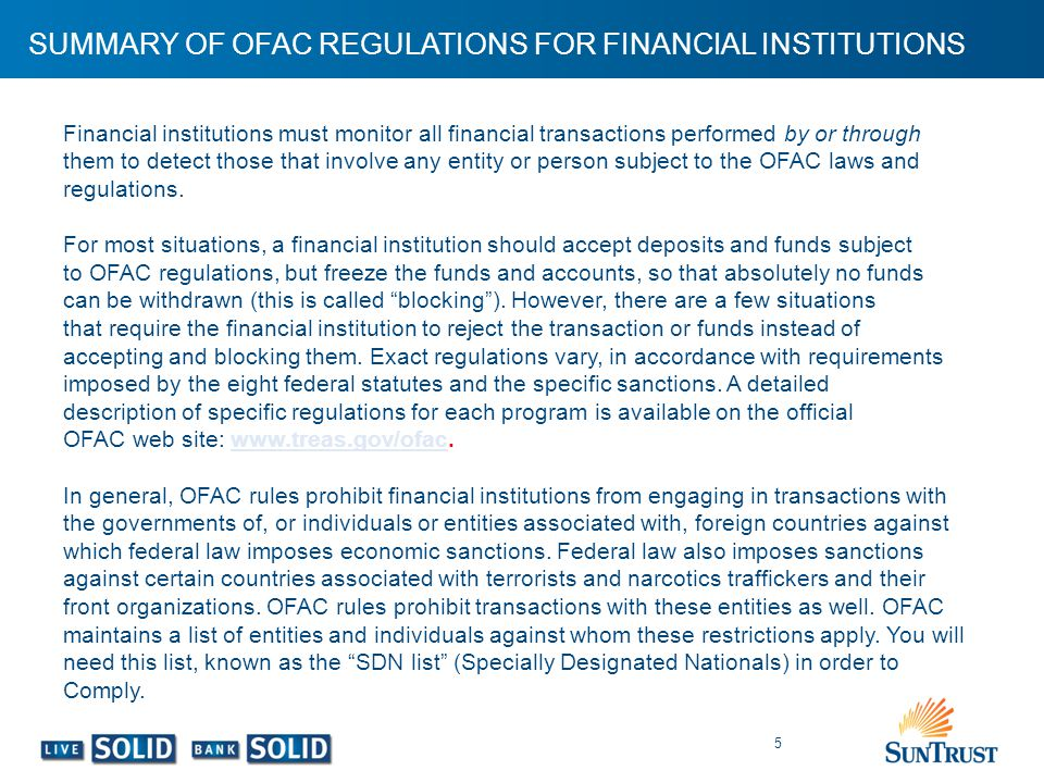 SUMMARY OF OFAC REGULATIONS FOR FINANCIAL INSTITUTIONS