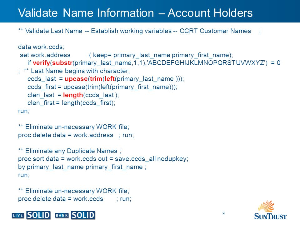 Validate Name Information – Account Holders