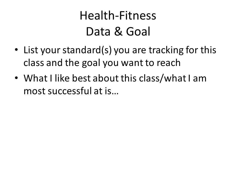 Health-Fitness Data & Goal