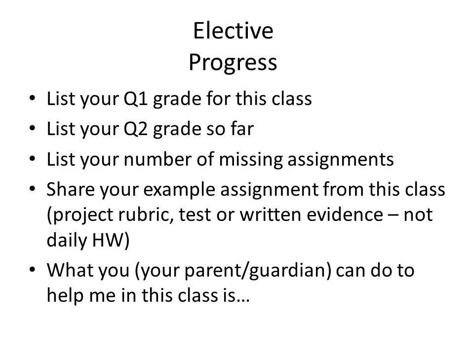 Elective Progress List your Q1 grade for this class