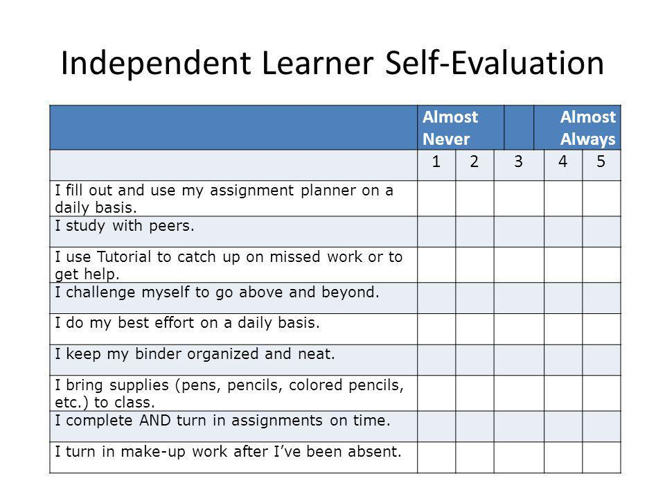 Independent Learner Self-Evaluation