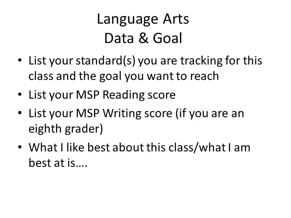 Language Arts Data & Goal