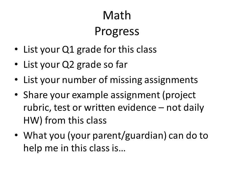 Math Progress List your Q1 grade for this class