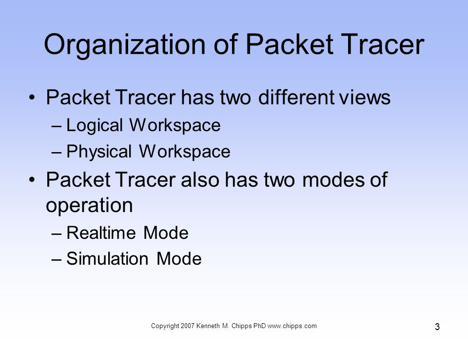Organization of Packet Tracer