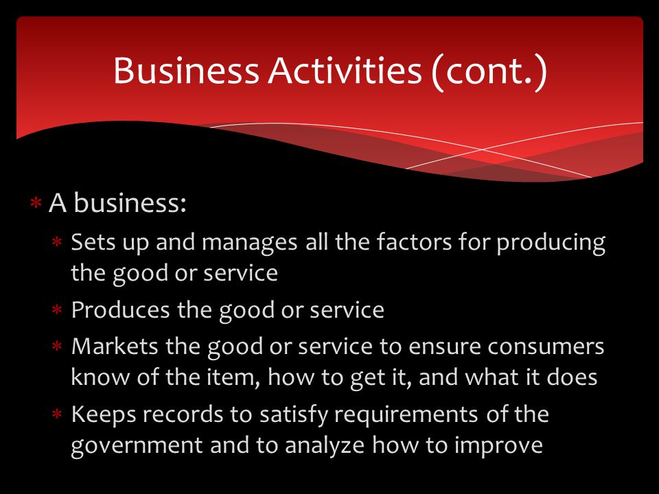Business Activities (cont.)