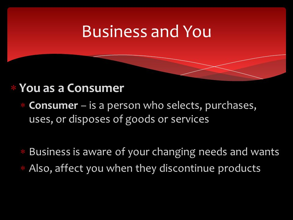 Business and You You as a Consumer