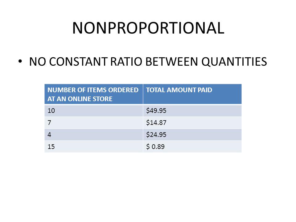 NONPROPORTIONAL NO CONSTANT RATIO BETWEEN QUANTITIES