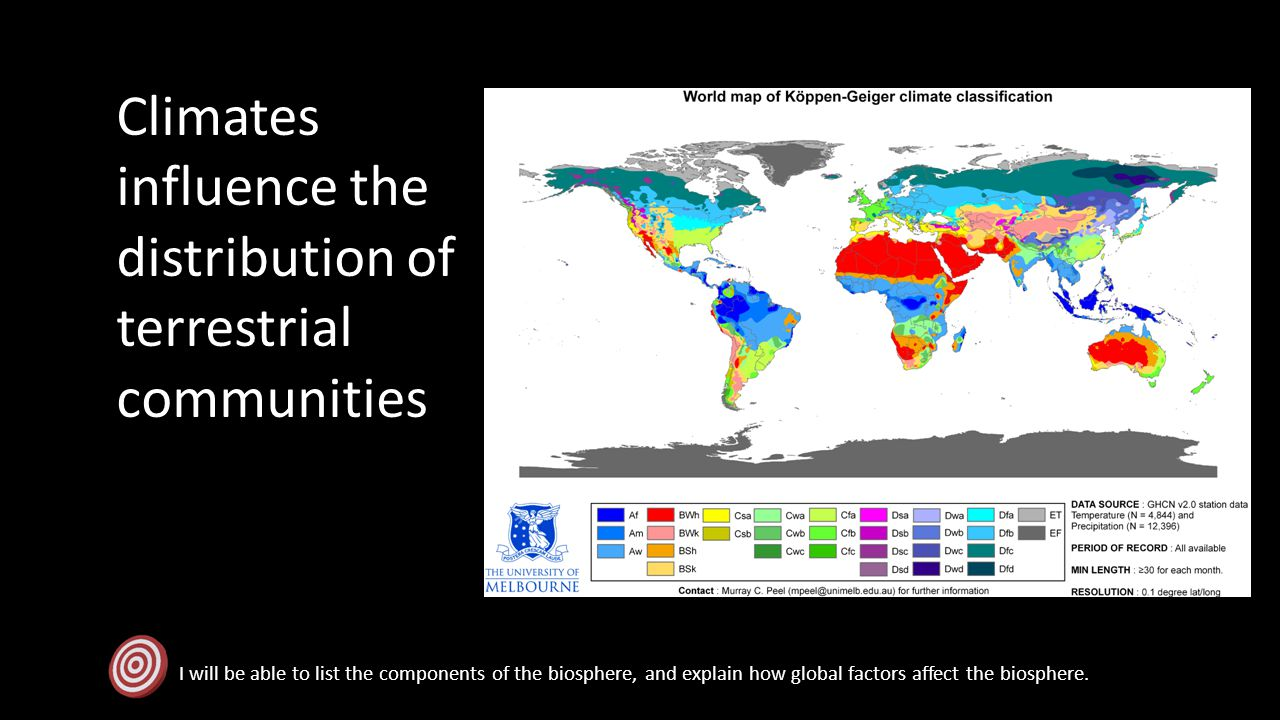 Climates influence the distribution of terrestrial communities