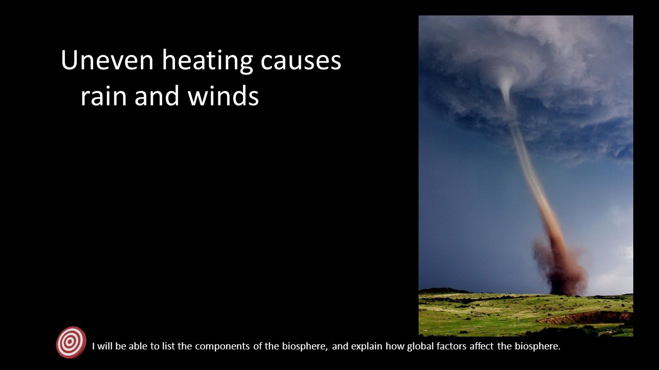 Uneven heating causes rain and winds