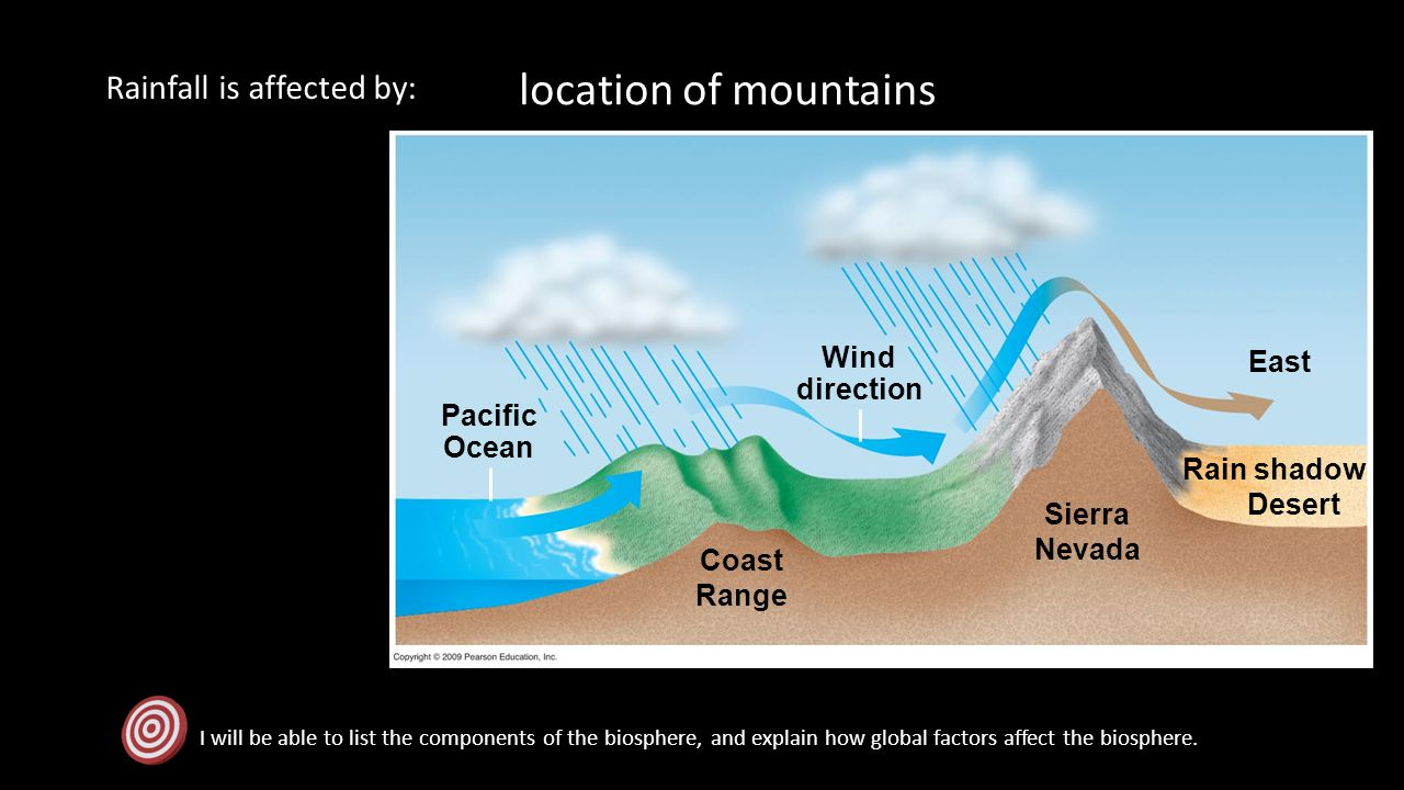 location of mountains Rainfall is affected by: Wind East direction