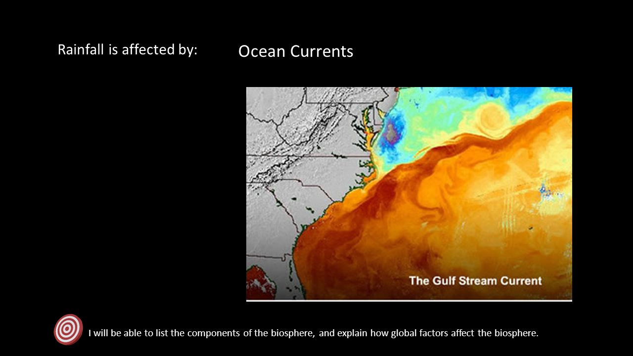 Ocean Currents Rainfall is affected by: