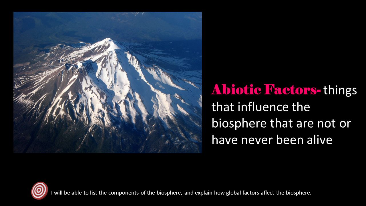 Abiotic Factors- things that influence the biosphere that are not or have never been alive