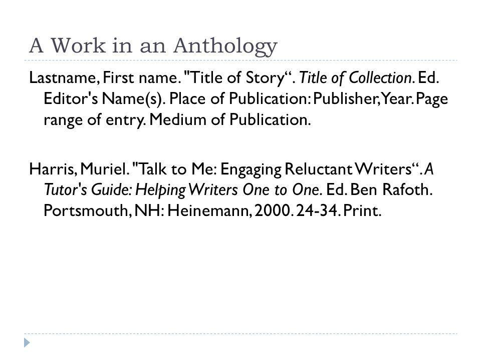 A Work in an Anthology