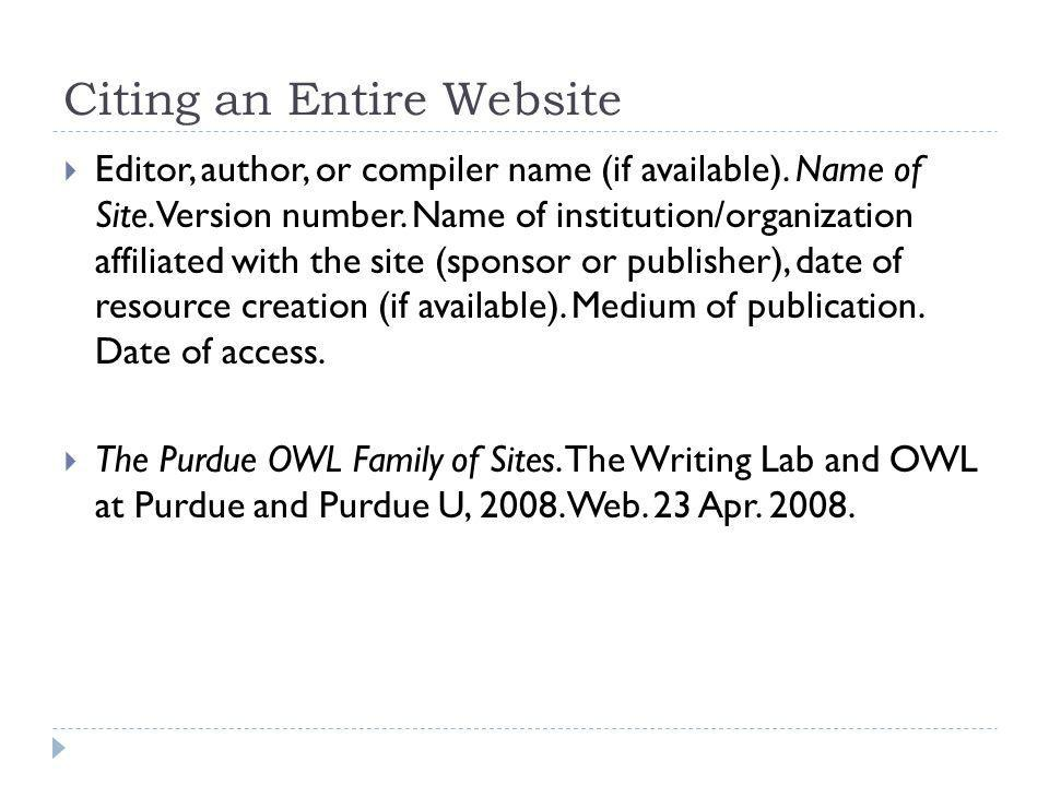 Citing an Entire Website