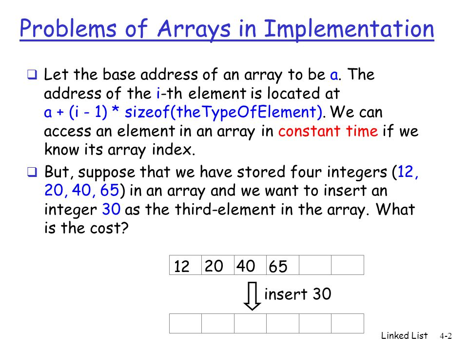 Problems of Arrays in Implementation