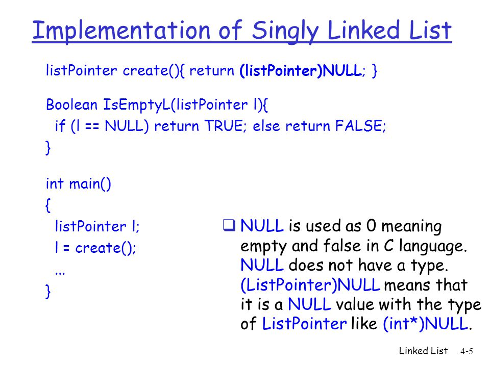 Implementation of Singly Linked List