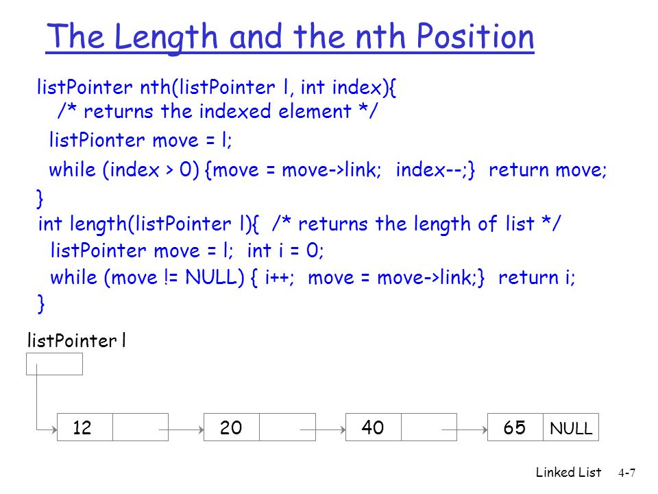 The Length and the nth Position