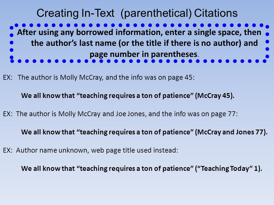 Creating In-Text (parenthetical) Citations
