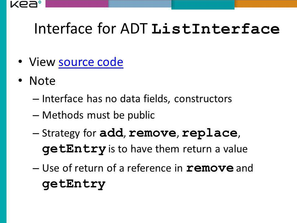 Interface for ADT ListInterface