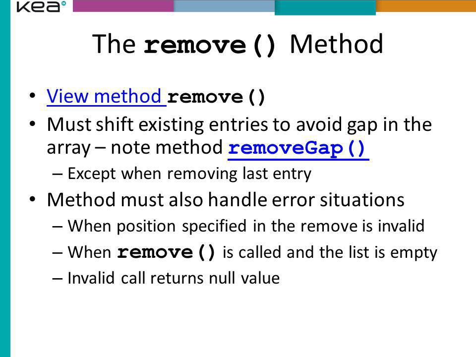The remove() Method View method remove()