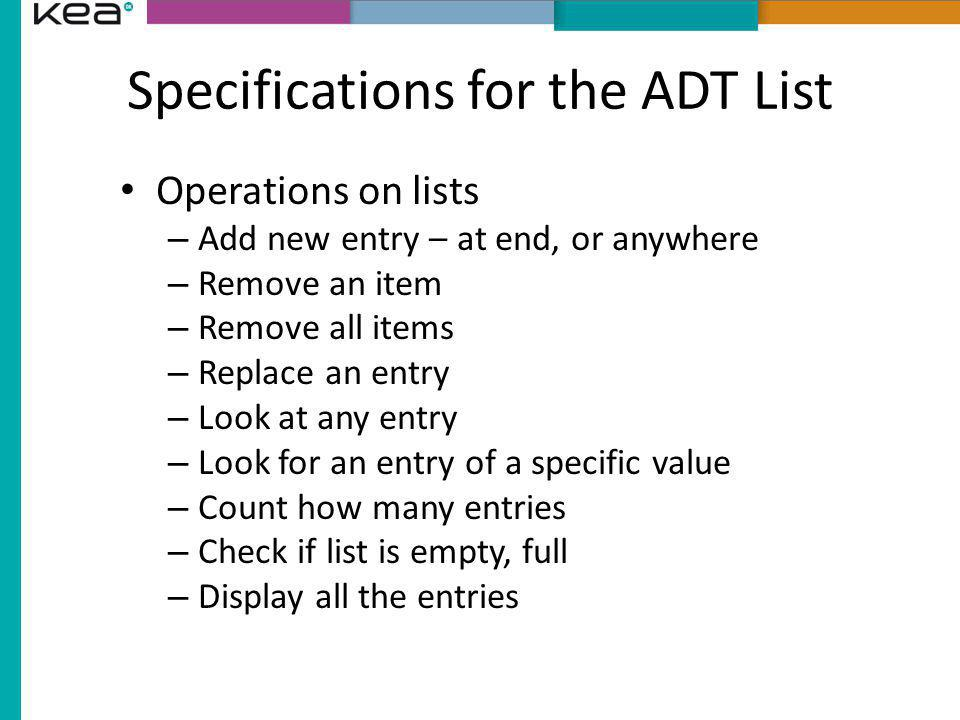 Specifications for the ADT List