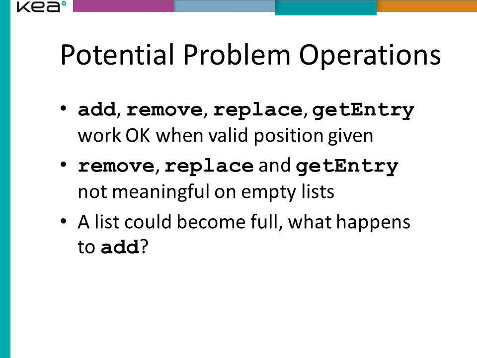 Potential Problem Operations