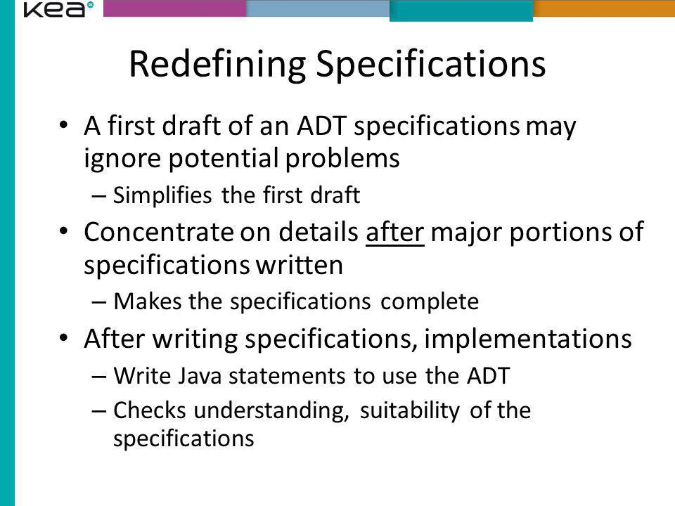 Redefining Specifications