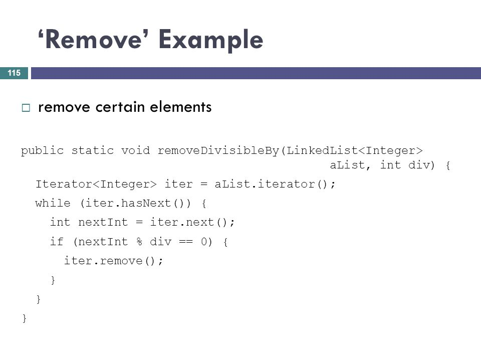 'Remove' Example remove certain elements