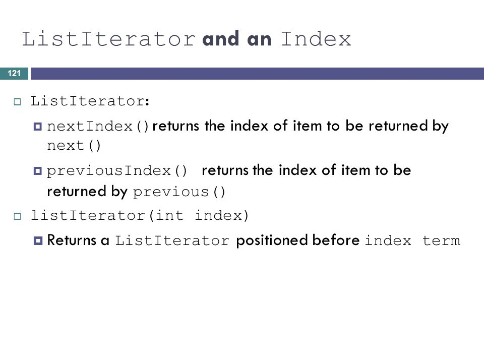 ListIterator and an Index