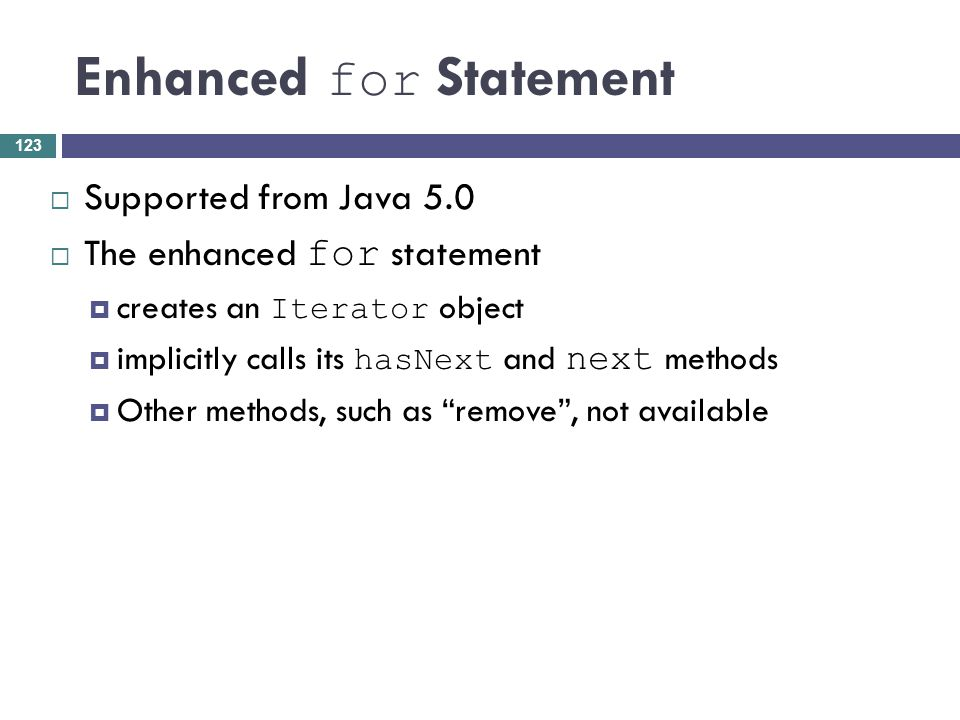 Enhanced for Statement