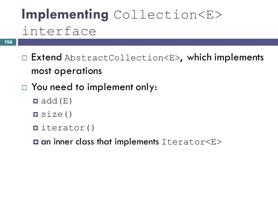Implementing Collection<E> interface
