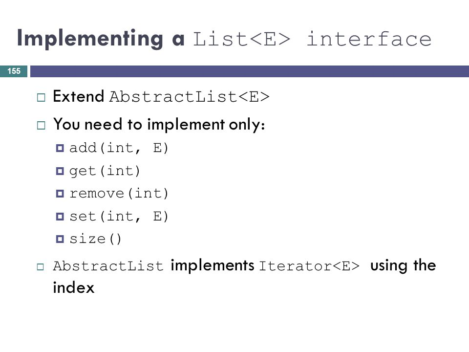 Implementing a List<E> interface