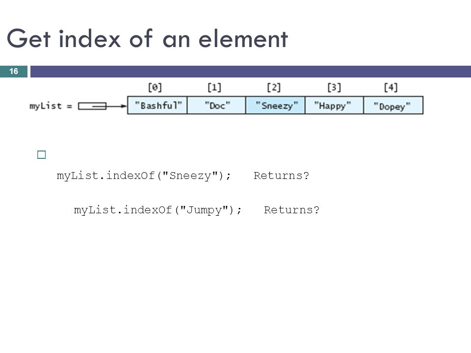 Get index of an element myList.indexOf( Sneezy ); Returns