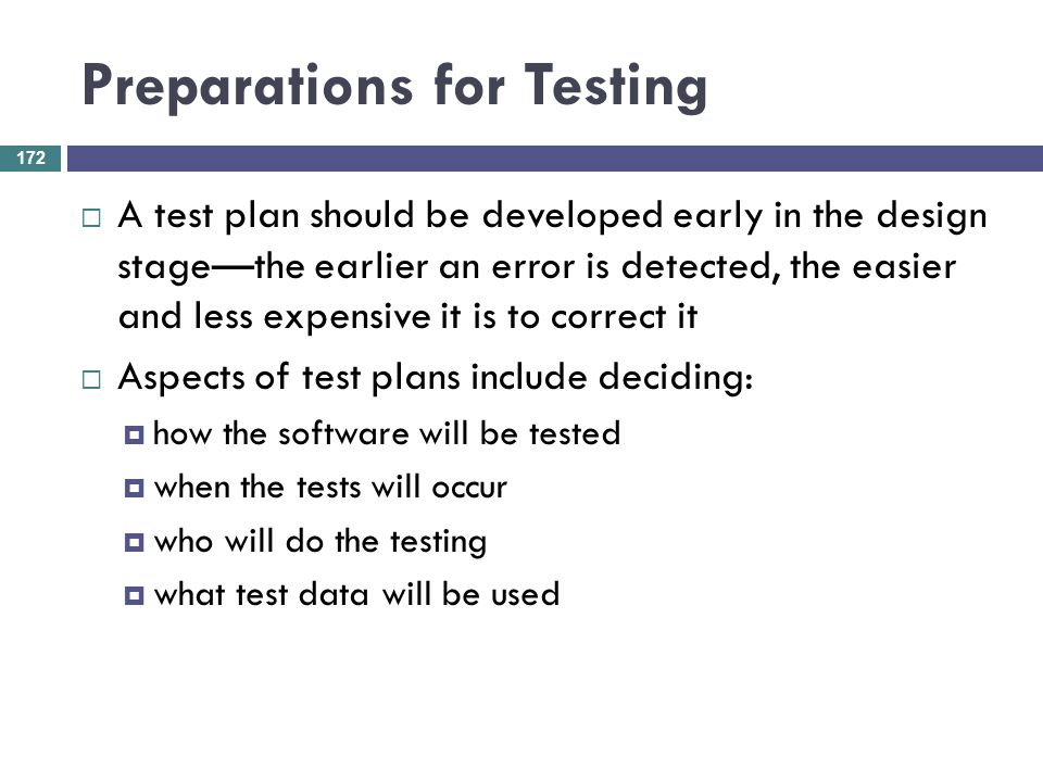 Preparations for Testing