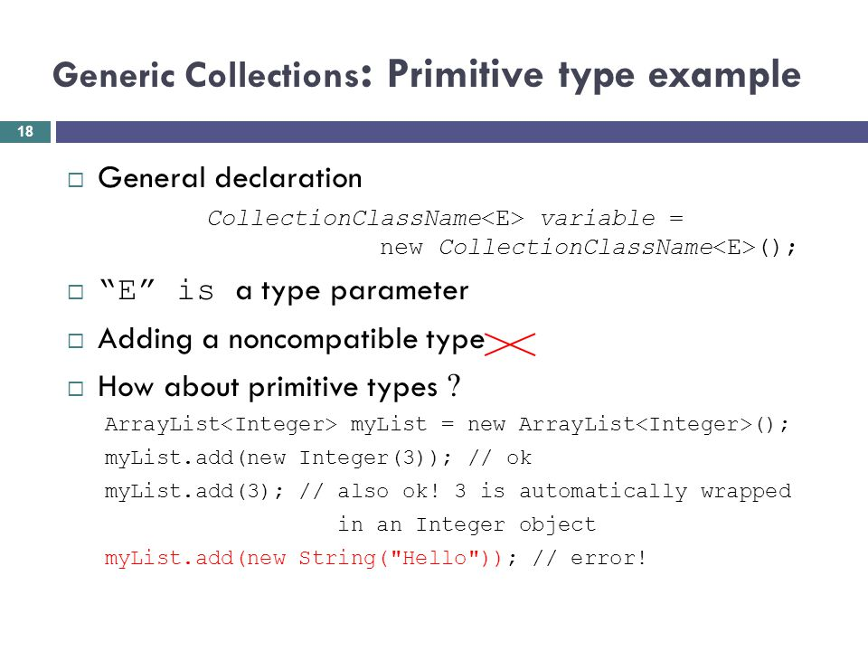 Generic Collections: Primitive type example