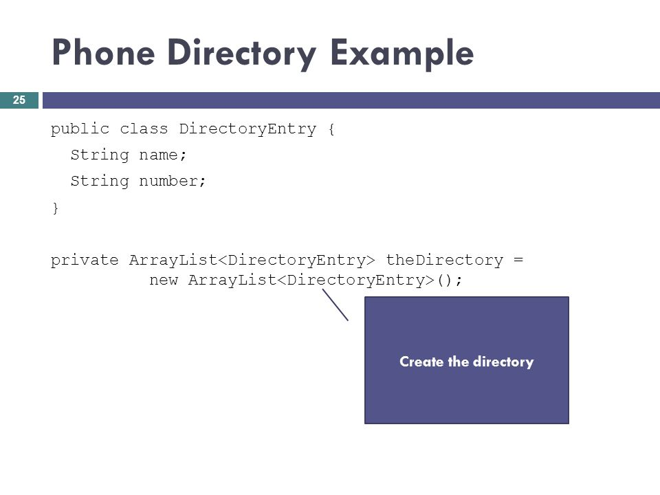 Phone Directory Example