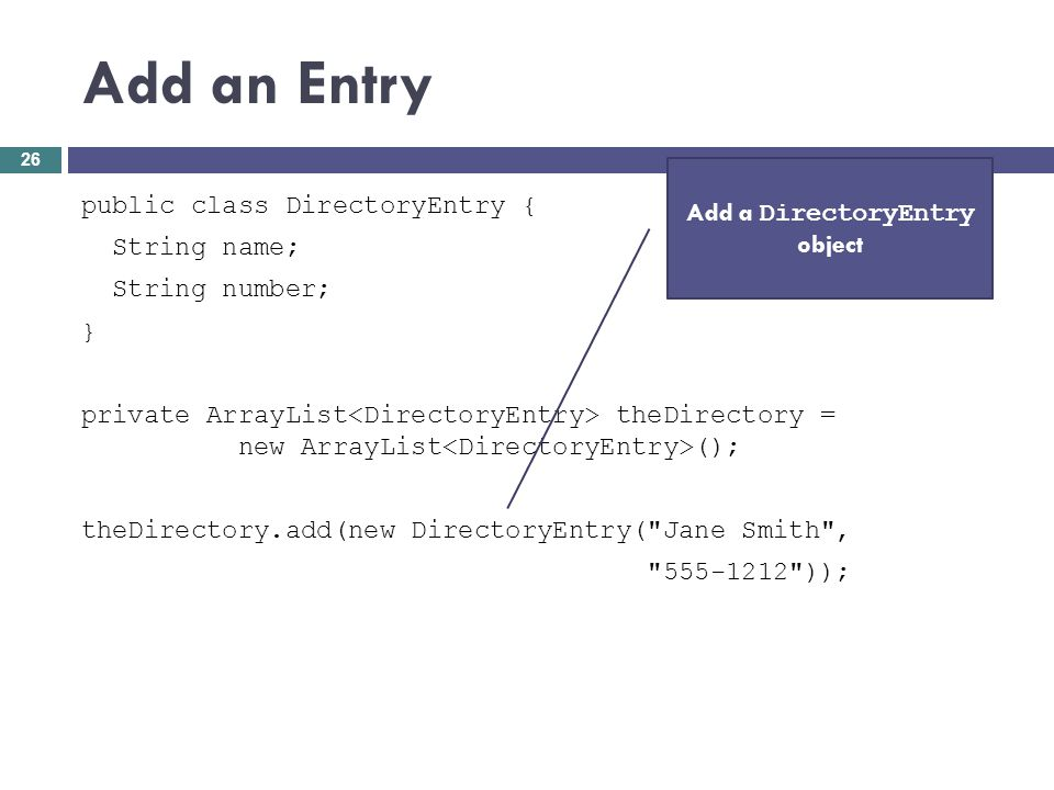 Add a DirectoryEntry object