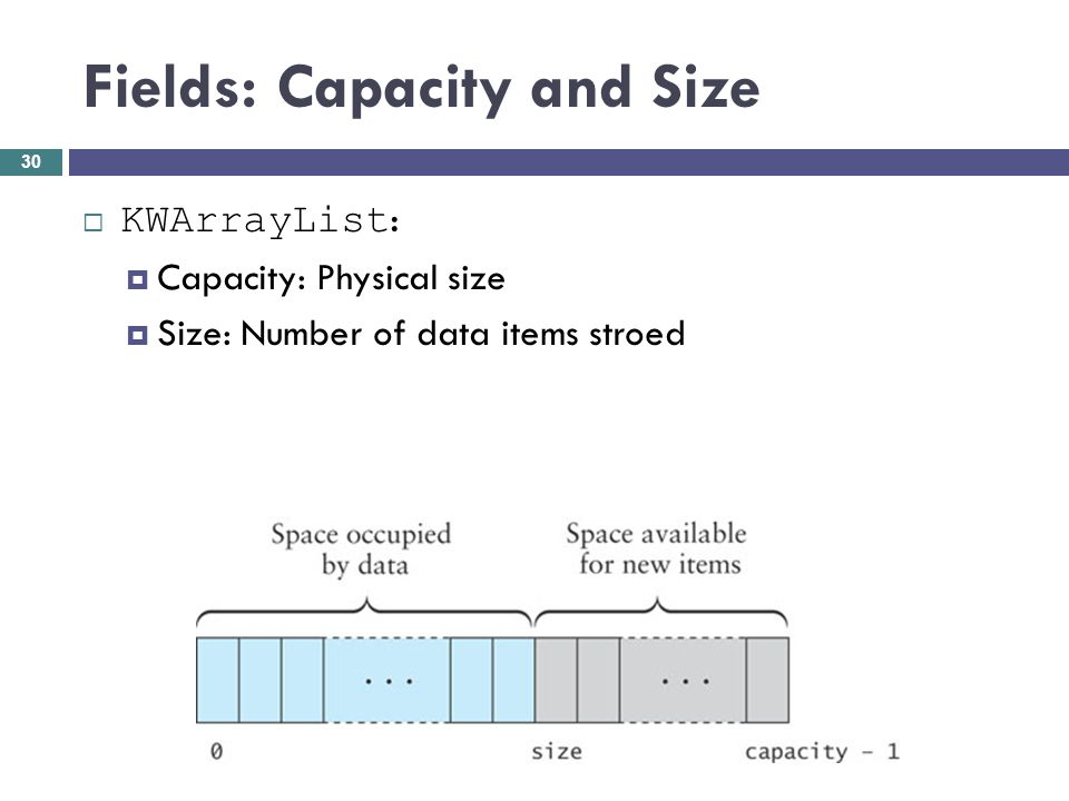 Fields: Capacity and Size