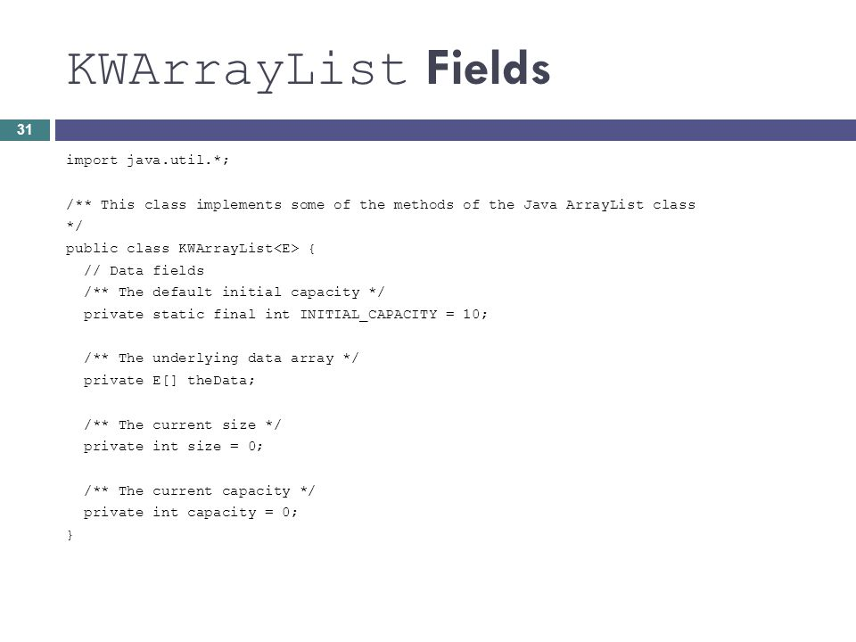 KWArrayList Fields