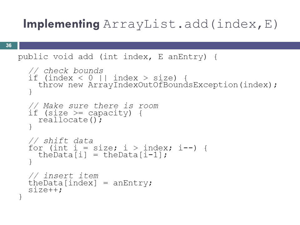 Implementing ArrayList.add(index,E)