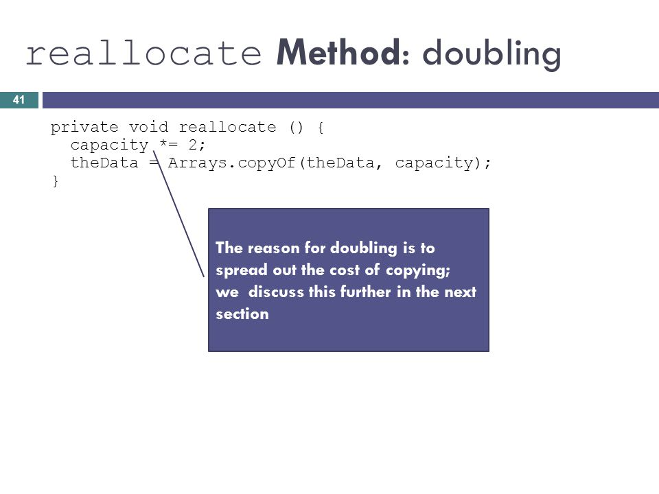 reallocate Method: doubling