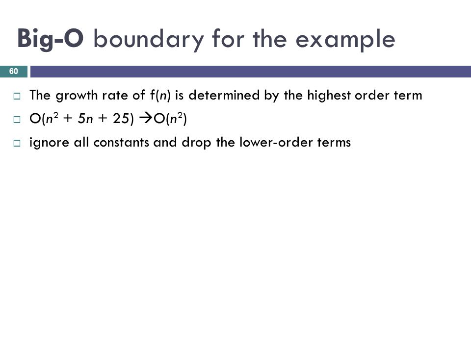 Big-O boundary for the example